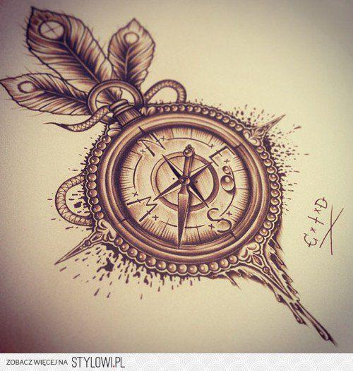 Róża Wiatrów Tatto Tatuaże Pióra Tatuaż I Tatuaże