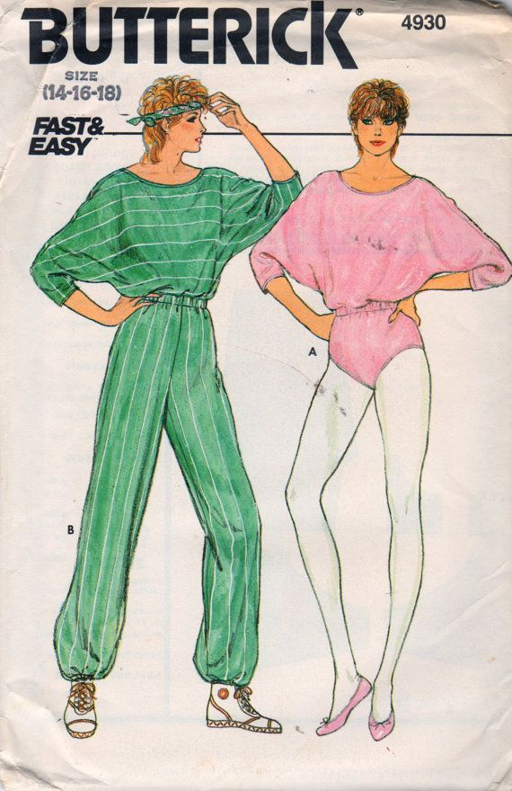 1980s Butterick 4930 Misses Dolman Sleeve Stretch Knit JUMPSUIT pattern in  two lengths womens vintage sewing pattern by mbchills 45c435286