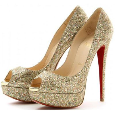 christian louboutin gold sparkly heels