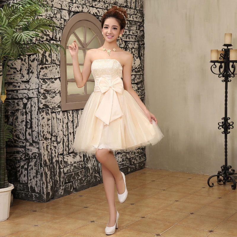Women Summer Strapless Chiffon Tutu Dress Party Bride Bridesmaid Sister Group Dress