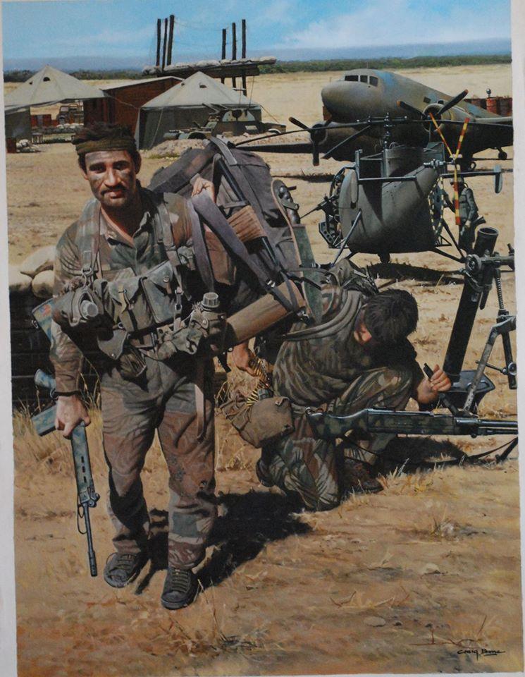 Rhodesian Troopies FN FAL and MAG RLI Fireforce Duty Light Infantry Rhodesia