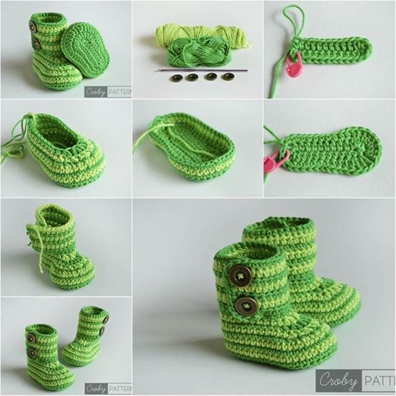 Creative Ideas - DIY Cute Crochet Baby Booties with Free Pattern ...