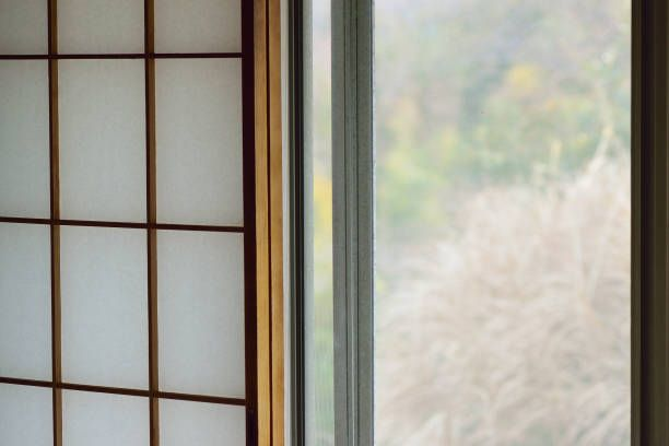 Simple Window Frame Texture Of Japanese Wooden With Washi Paper Design Inspiration