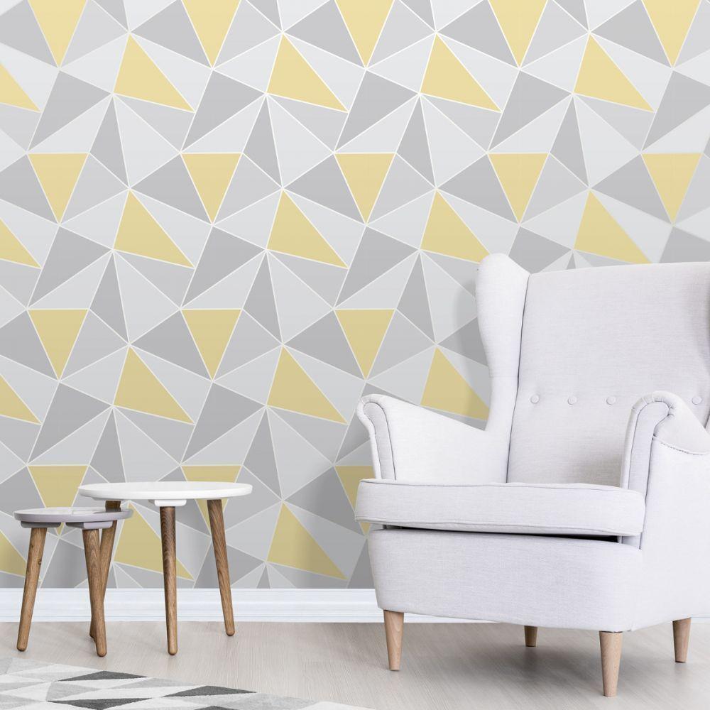 Apex Geometric Wallpaper Yellow And Grey Fine Decor Fd4
