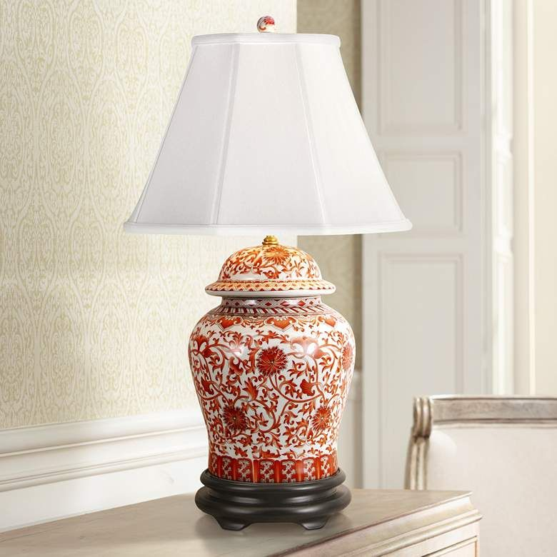 Coral Porcelain Temple Jar Table Lamp G7011 Lamps Plus In
