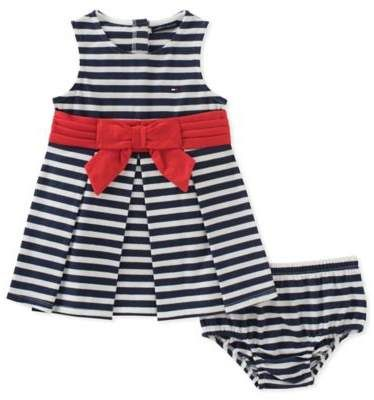b80cf181692e Tommy Hilfiger® 2-Piece Striped Dress and Diaper Cover Set in Navy White   babygirl