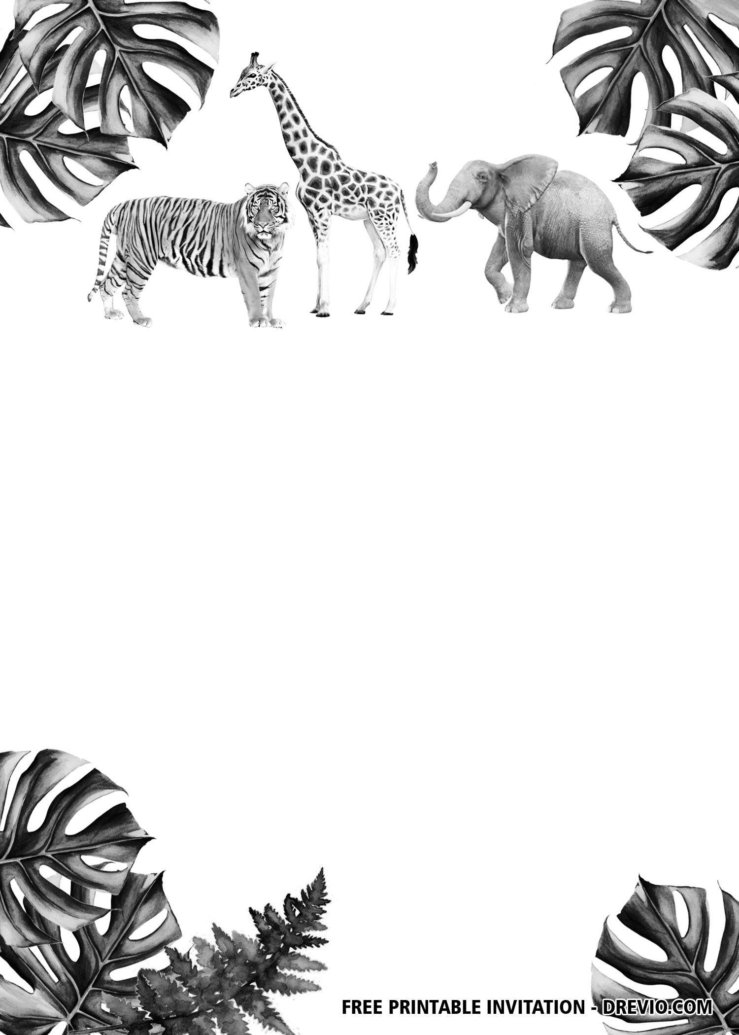 free jungle safari black and white