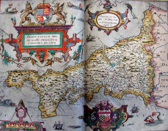 TUDOR MAP OF CORNWALL 1579