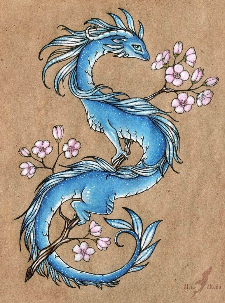 Татуировки дракона с цветами