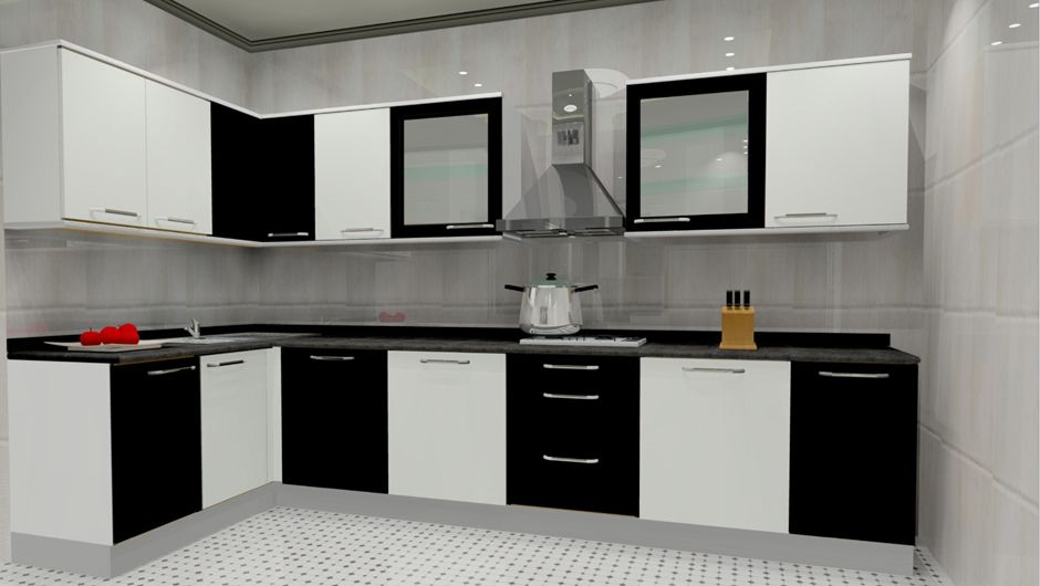 L-shaped kitchen space can be opted for relatively smaller sized ...