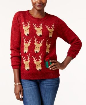 Macys Christmas Sweaters.Karen Scott Petite Reindeer Sweater Created For Macy S