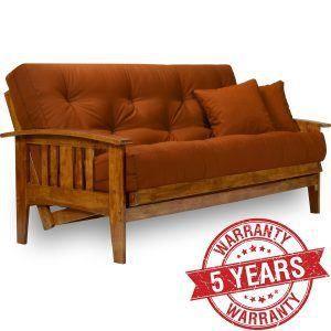 full size wooden futon brown