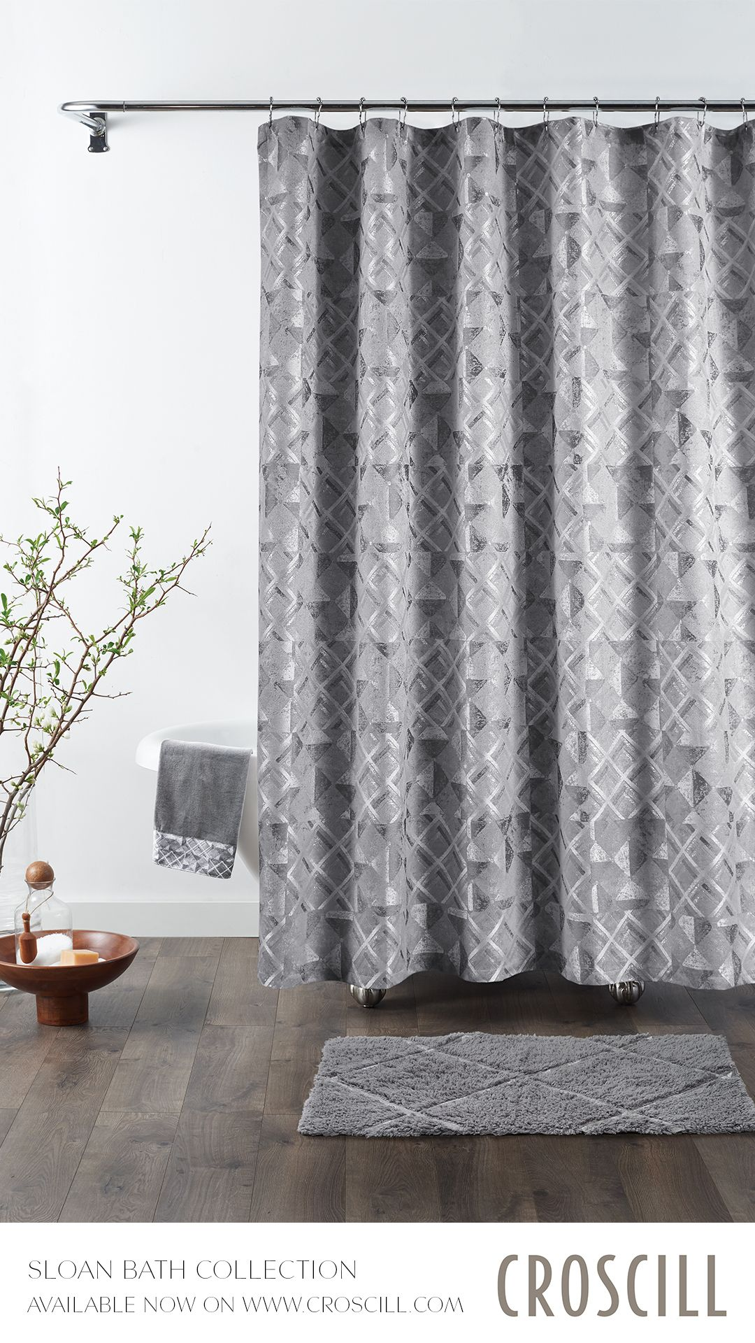 Sloan Shower Curtain 72x72 Sophisticated Bathroom Curtains