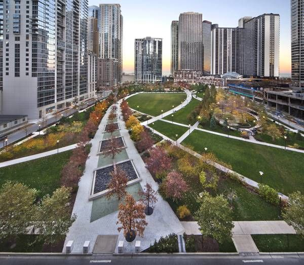 Landscape architecture the park at lakeshore east for Landscape design chicago