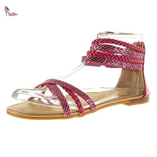 Angkorly - Chaussure Mode Sandale femme bijoux pom-pom Talon bloc 1.5 CM - Camel - 117-1 T 41 9hKF0Wm8
