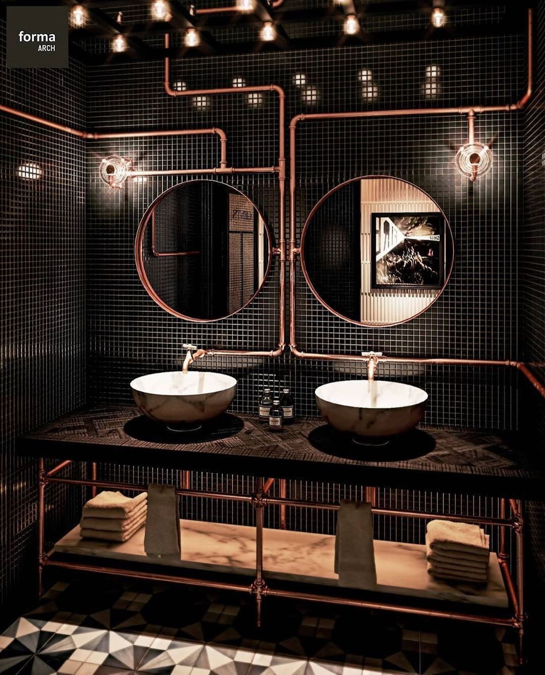Luxury Interior By Aither On Instagram What Are Your Thoughts About The Bathroom Decor Comment Be Restroom Design Washroom Design Restaurant Bathroom