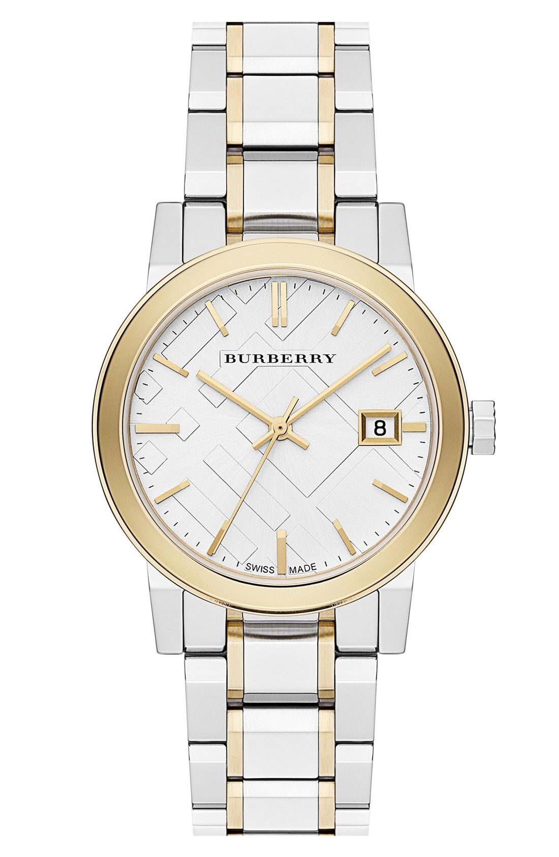 Burberry Medium Check Stamped Bracelet Watch 34mm Want To