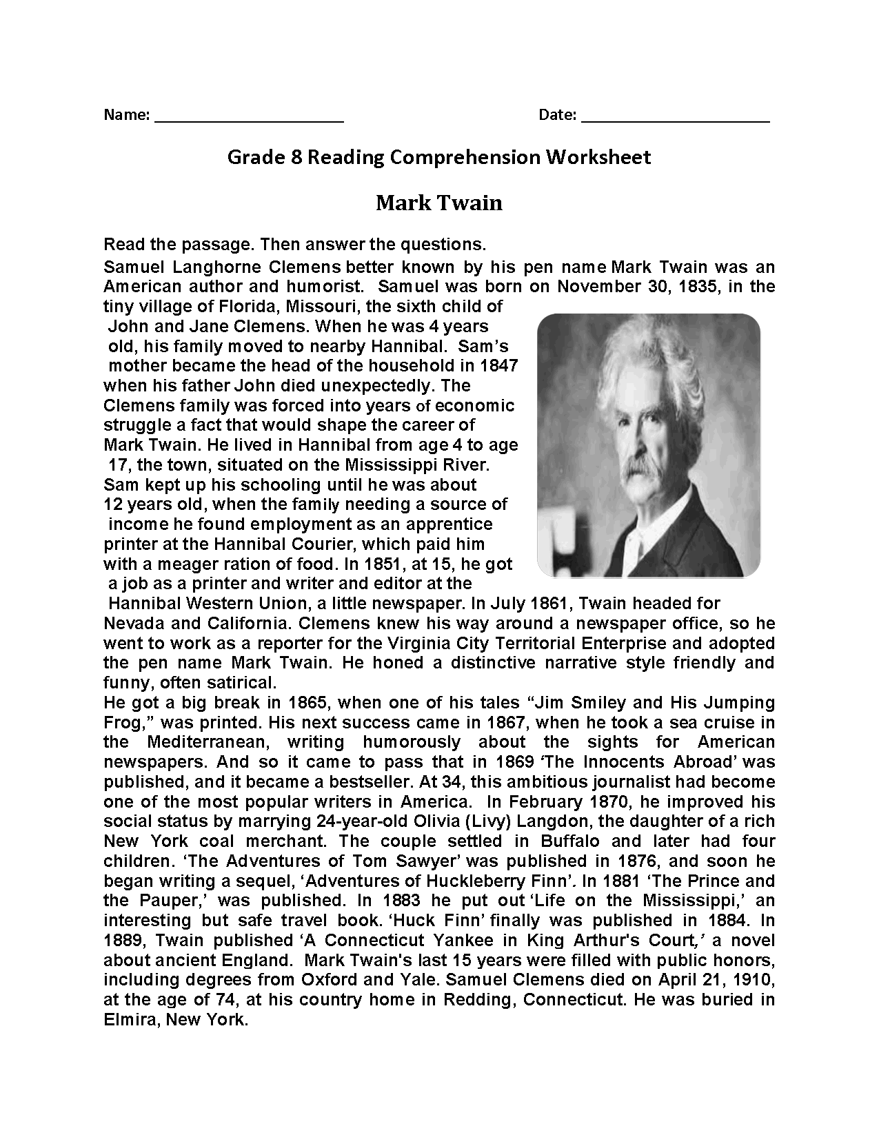 Mark Twain Eighth Grade Reading Worksheets 8th Grade In