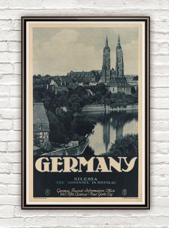 Breslau Karte 1930.Vintage Poster Of Germany Silesia Breslau Travel By