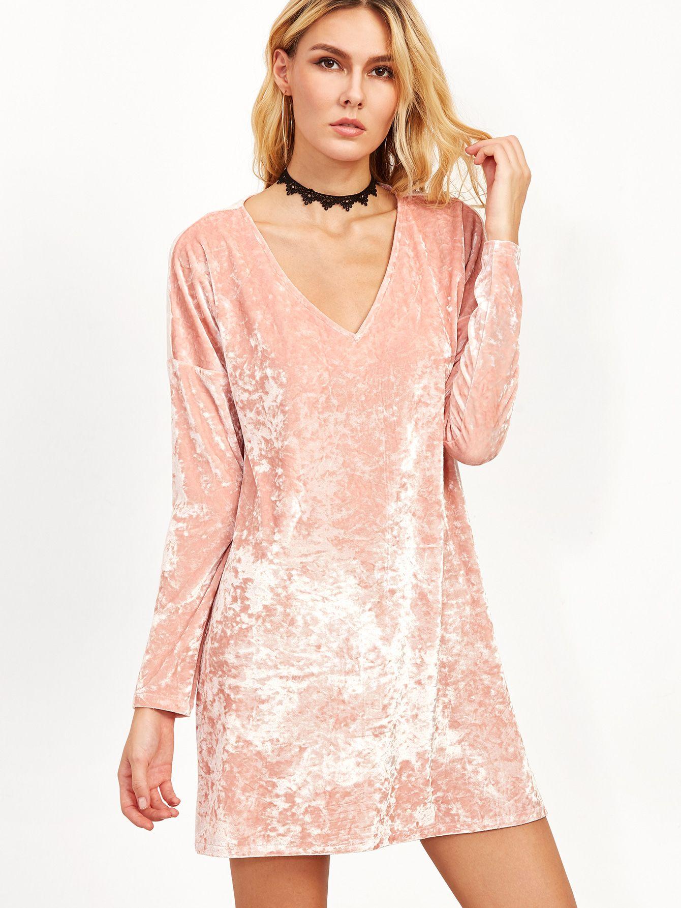 94eb9d07d1 Shop Pink Velvet V Neck Shift Dress online. SheIn offers Pink Velvet V Neck  Shift Dress & more to fit your fashionable needs.