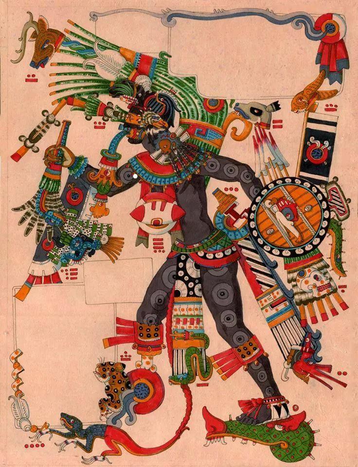 Tezcatlipoca en su aspecto de guerrero divino. by el Tonalamatl de ollin.