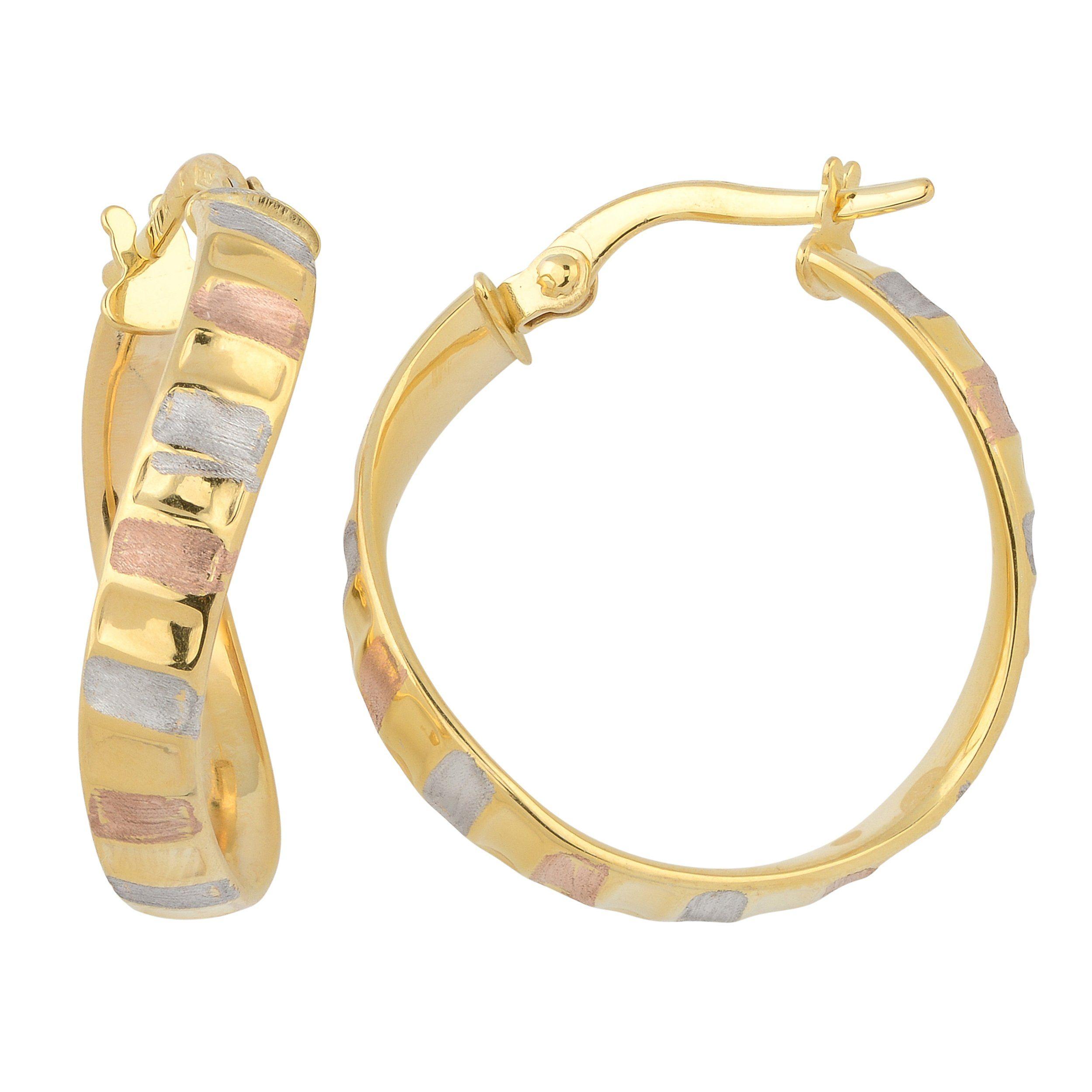 K tricolor gold satin finish ripple design surface twist hoop
