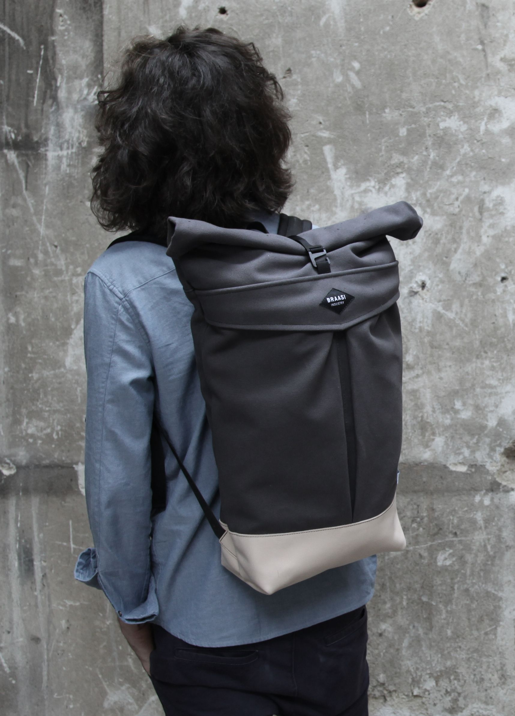 Backpack levo canvas grey | | Backpacks, Leather