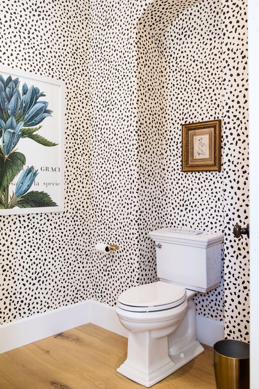 Savvy Interiors Bathroom Remodels With Dalmation Wallpaper