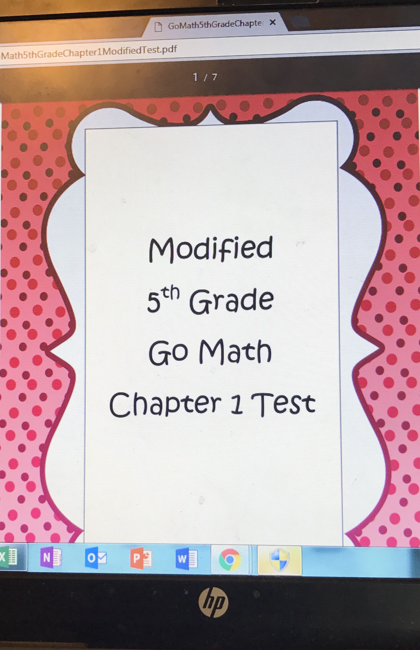 Modified Go Math 5th grade tests for kids who struggle with