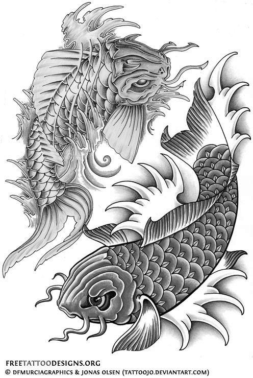 Black And White Koi Fish Tattoos Design Koi Dragon Tattoo Pisces Tattoo Designs Koi Tattoo Design