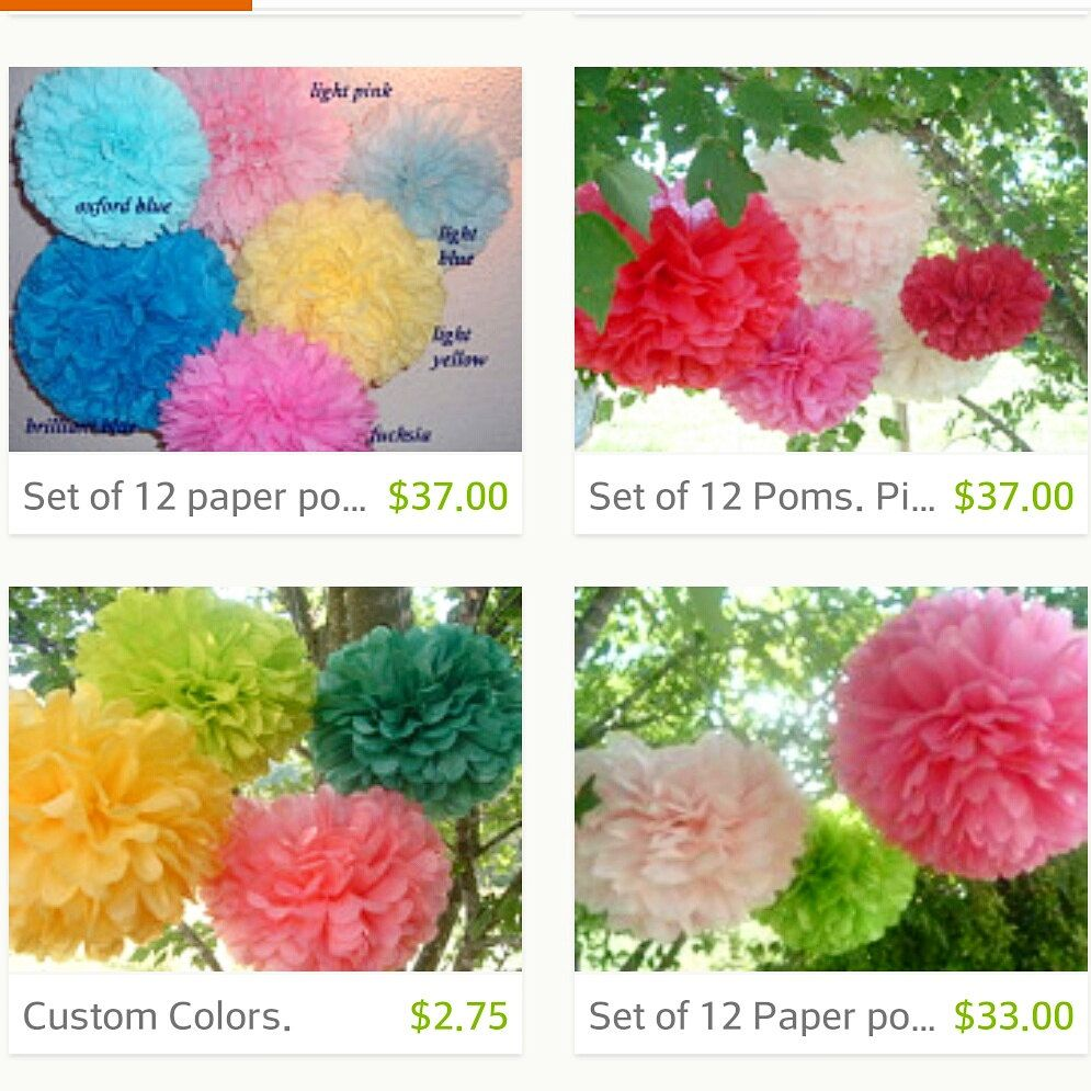 20 Tissue Paper Poms Pom Pom Paper Pom Hanging Flowers Wedding