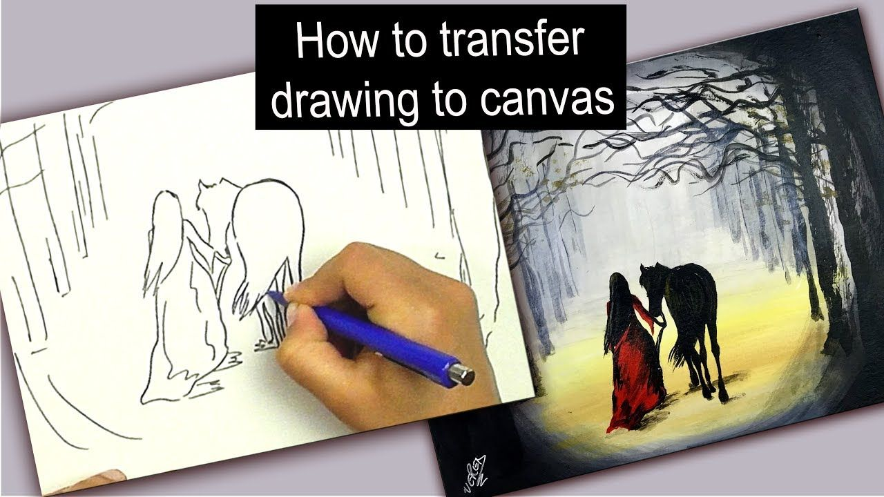 How To Transfer Drawing To Canvas Easy Technique Acrylic Painting For Beginners Canvas Painting Tutorials Art Instruction Videos