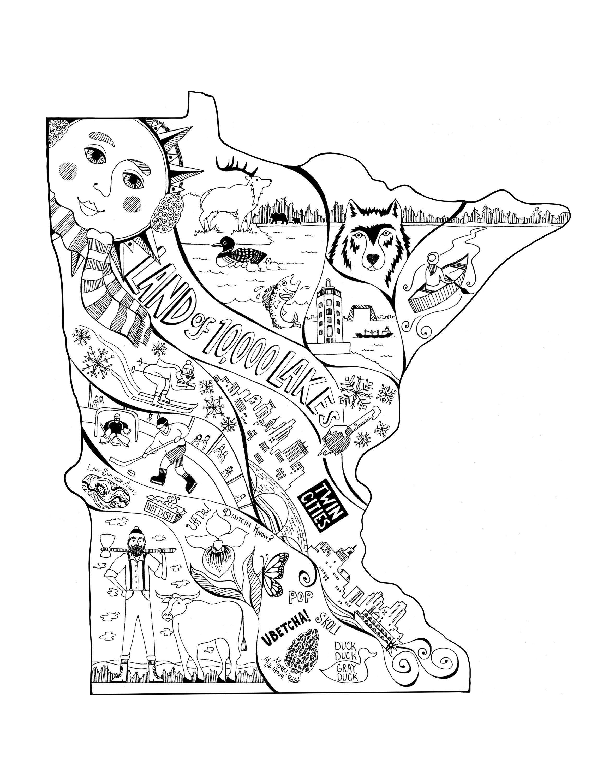 Black Amp White Minnesota Map Minnesota Art Featuring The