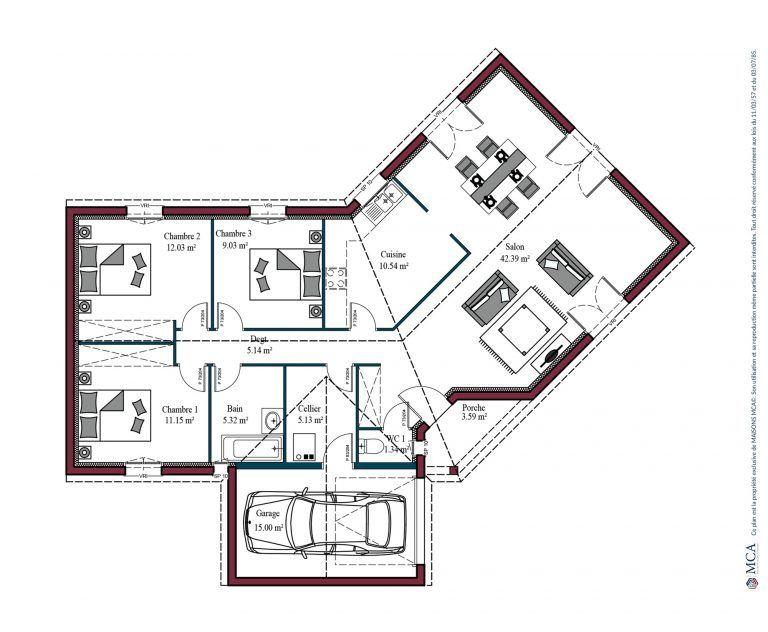 Plan maison charentaise Marenne | 102 m² en 2020 | Maison mca, Plan petite maison, Plan maison