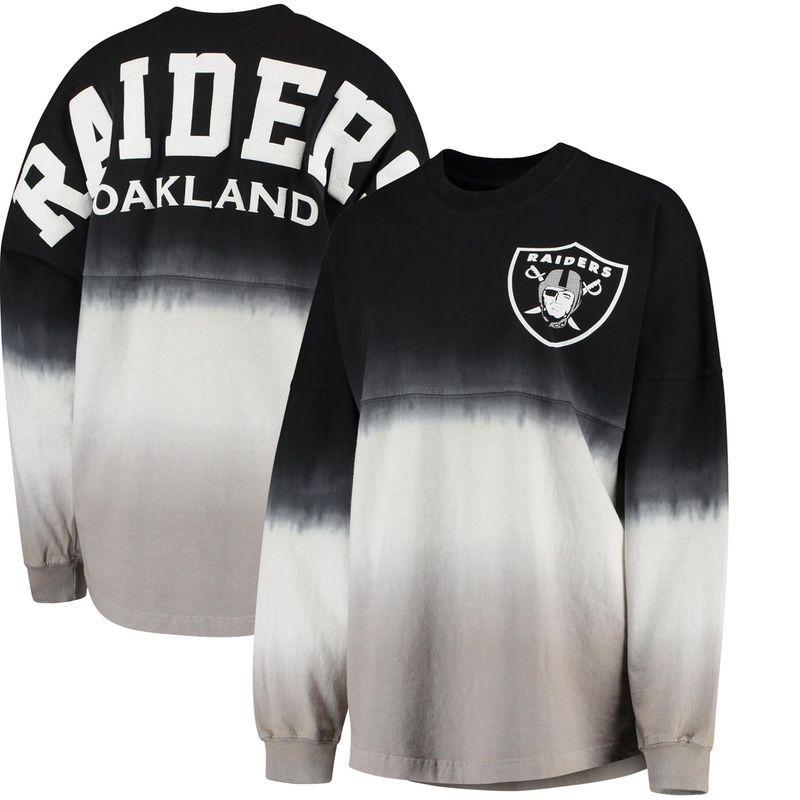 Oakland Raiders NFL Pro Line by Fanatics Branded Women s Spirit Jersey Long  Sleeve T-Shirt - Black Silver 5b564b345695