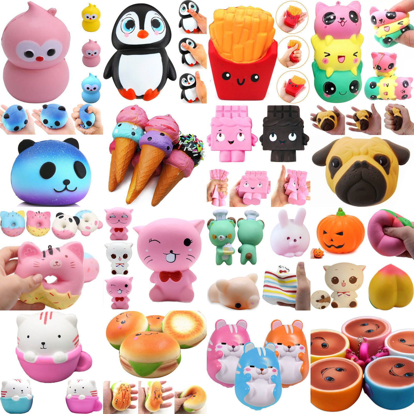 Ornaments The Cheapest Price 2017 Hot Sale Lot 10pcs Pop Food&rilakkuma Cute Charms Squeeze Slow Rising Toy Collection