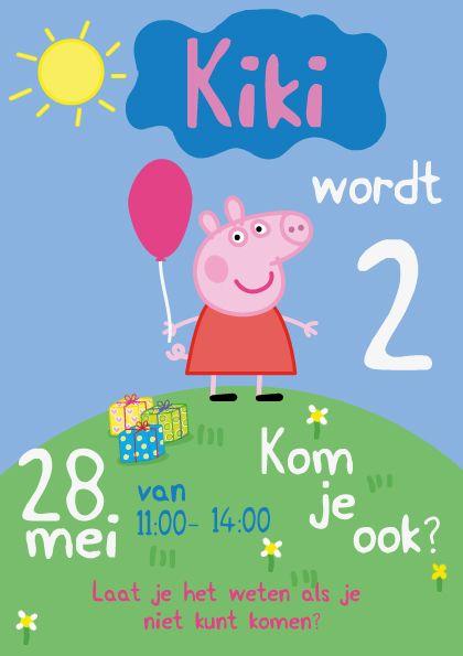 Tweede Verjaardag.2 Jaar Uitnodiging Tweede Verjaardag Kaart Peppa Pig