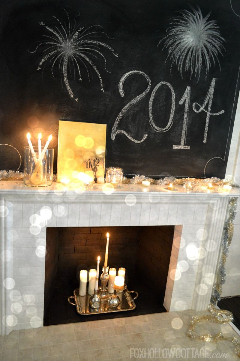fast & festive New Years Eve mantel - last minute affordable, doable, diy decor - foxhollowcottage.com