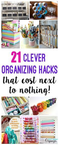 Clever Organization Hacks That Cost Next to Nothing! - lots of great FREE or nearly free storage solutions! - Happiness is Homemade