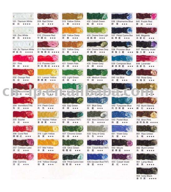 Oil Color Chart  The World Is Filled With Color