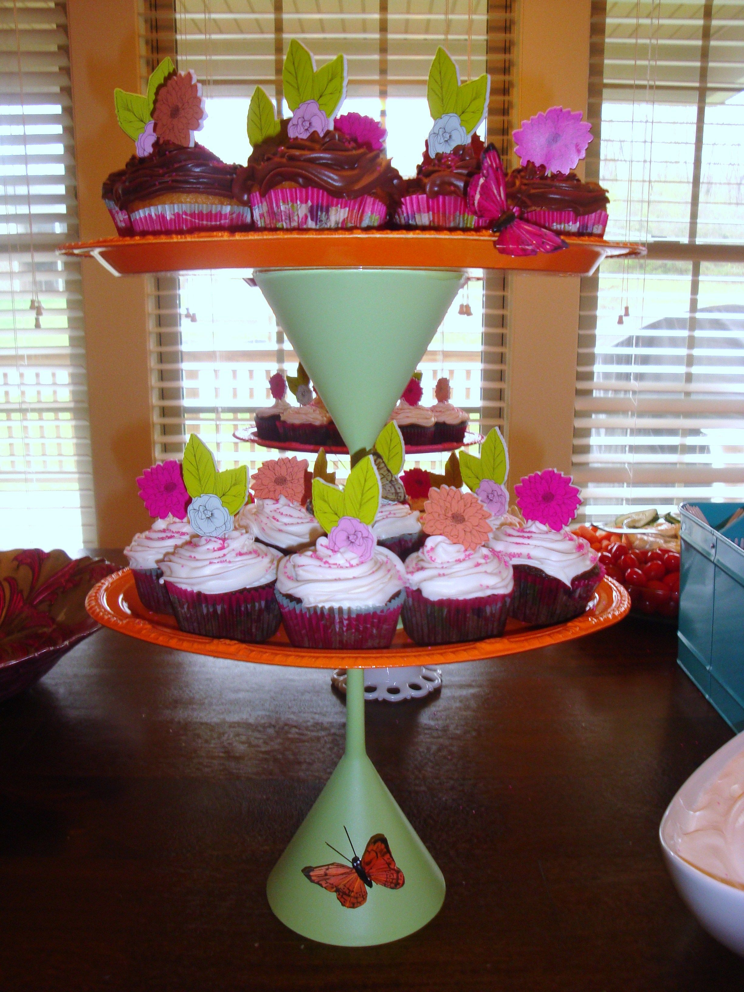 Cupcake stands I made for baby girl baby shower!
