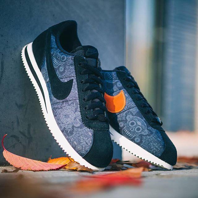"""timeless design f7710 126c9 Halloween is right around the corner, right in time for this NIKE Cortez """" Day Of The Dead""""! The Cortez sports black suede parts, lateral nylon panels  with ..."""