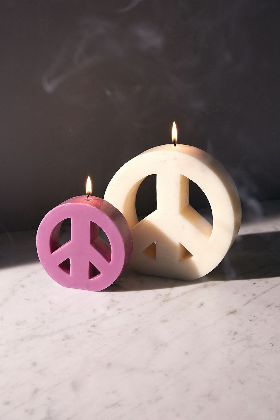 Urban Outers Large Peace Sign Candle Natural One Size