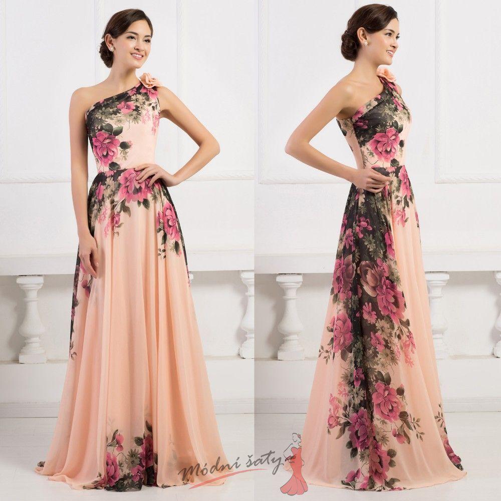 Květinové společenské šaty přes rameno vel až oblečení