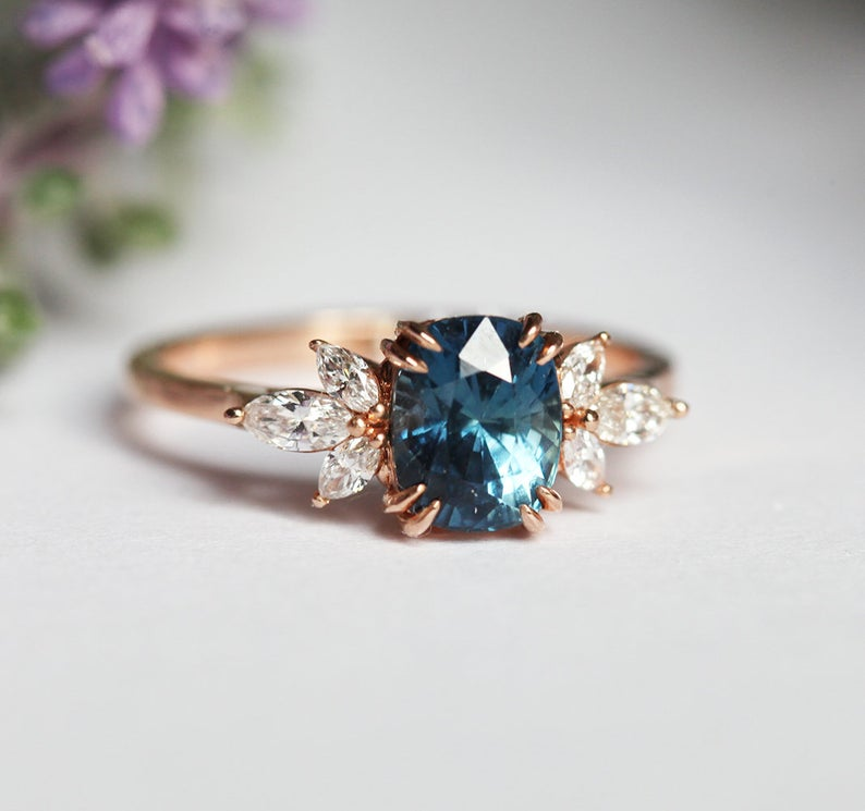 Photo of Blue Sapphire Rose Gold Engagement Ring, Blue Sapphire Cushion and Diamond Ring, Unique Blue Engagement Ring