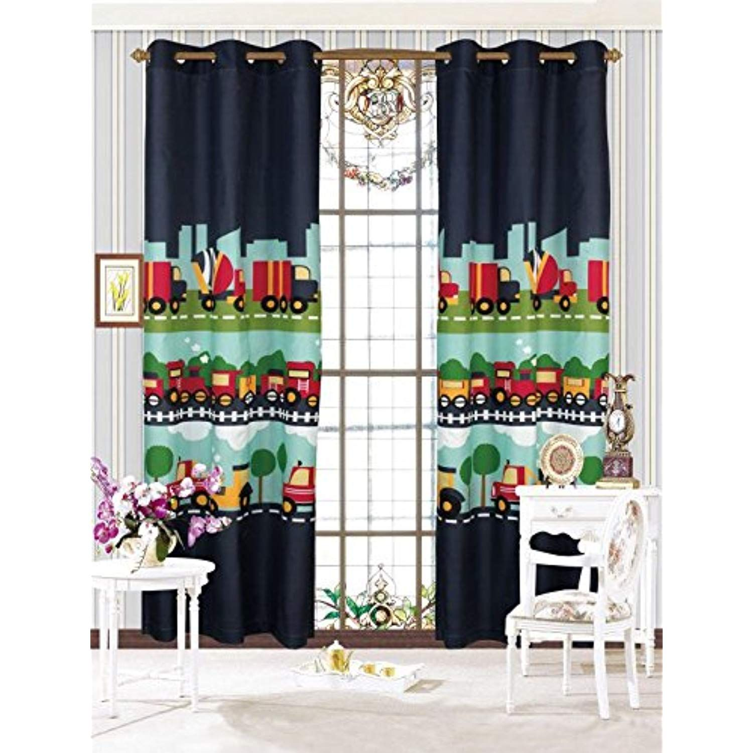 Mk Home Mk Collection 2 Panel Curtain With Grommet Cars Train Boys