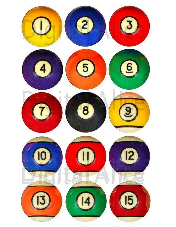 Colorful Vintage Billiard Balls Craft Circles Pool Billiards Pub Stickers Bottlecaps More Diy Instant Download Bolas De Billar Billares Bolas Billar