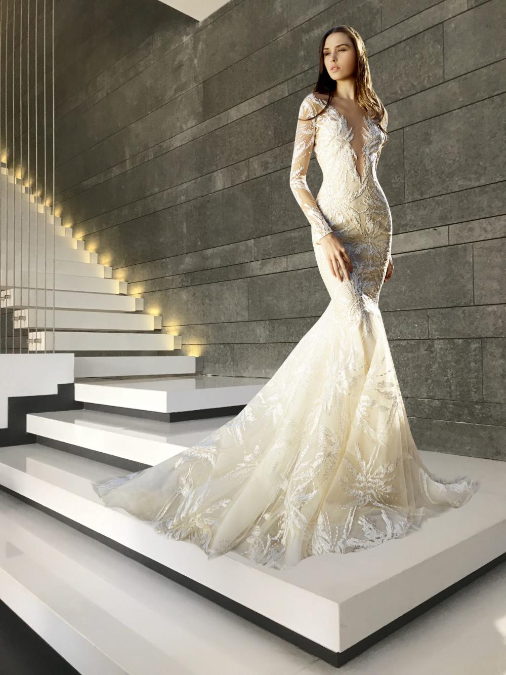 Long Sleeve Deep V Neck Embroidery Detailed Mermaid Wedding Dress Kleinfeld Long Sleeve Mermaid Wedding Dress Wedding Dresses Kleinfeld Wedding Dresses Lace [ 1333 x 1000 Pixel ]