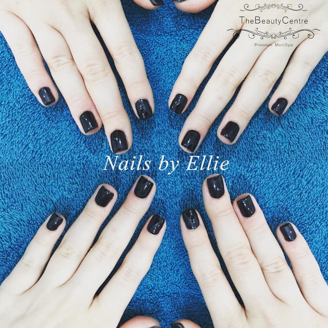 Gel polish on #natural #nails by @ellebacon93 in Blackpool #gelpolish #nailsdid #black #thebeautycentrebraintree #nailsbyellie