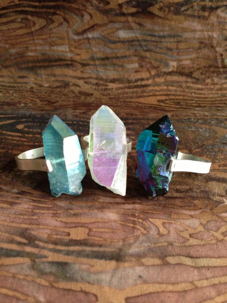 Aura Quartz Sterling Silver Rivet Ring. $120.00, via Etsy.